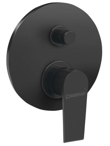 Sapho KAI podomítková sprchová baterie, 2 výstupy, černá mat