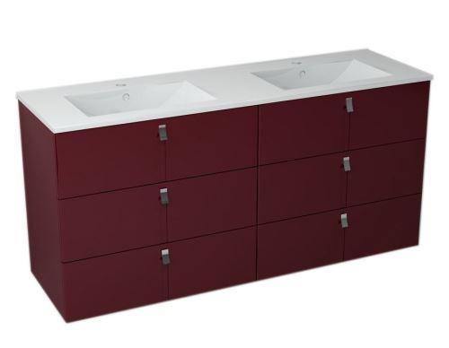 Sapho MITRA umyvadlová skříňka s umyvadlem, 3 zásuvky, 150x70x46 cm, bordó