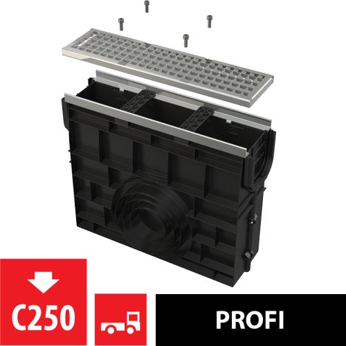 ALCAPLAST Venkovní žlabová vpust pro AVZ103 s kovovým rámem a pozinkovaným roštem C250 (AVZ103R-R104S)