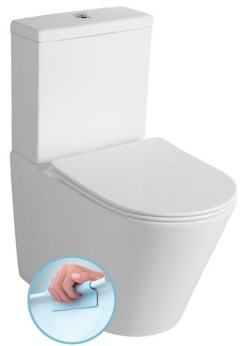 Sapho PACO RIMLESS WC kombi mísa s nádržkou včetně Slim Soft Close sedátka, sp./zadní