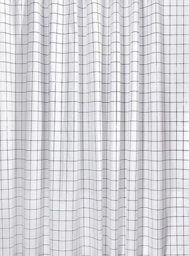 Aqualine Sprchový závěs 180x180cm, vinyl, černá/bílá čtvercový vzor