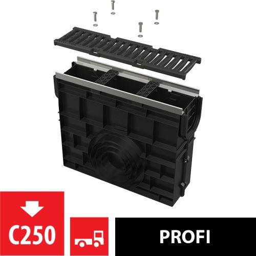 ALCAPLAST Venkovní žlabová vpust pro AVZ103 s kovovým rámem a litinovým roštem C250 (AVZ103R-R202)