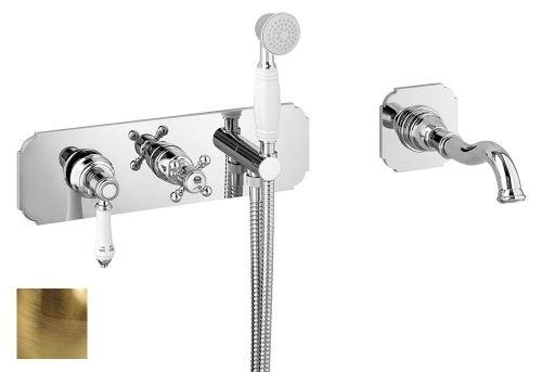 Sapho VIENNA podomítková vanová baterie s hubicí a ruční sprchou, 2 výstupy, bronz