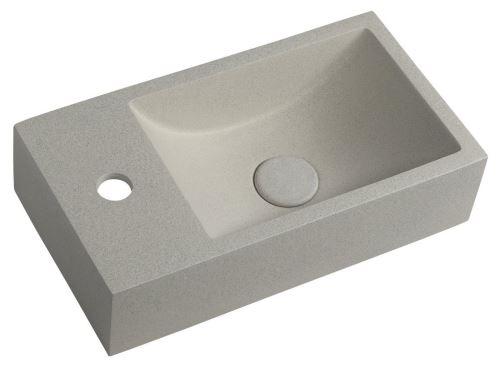 Sapho CREST L betonové umyvadlo včetně výpusti, 40x22 cm, bílý pískovec