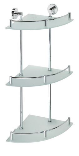 Sapho X-ROUND E skl. polička roh. trojitá s hrazdou, 270x660x270mm, chrom