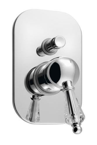 Sapho KIRKÉ CRYSTAL podomítková sprchová baterie, 2 výstupy, páčka krystal, chrom