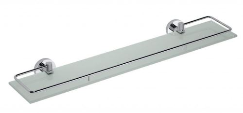 Sapho X-ROUND E polička skleněná s výklopnou hrazdou 600x130mm, chrom
