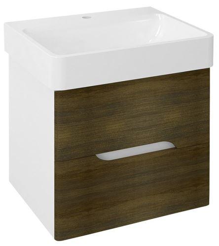 Sapho MEDIENA umyvadlová skříňka 57x50,7x48,5cm, bílá mat/dub graphite