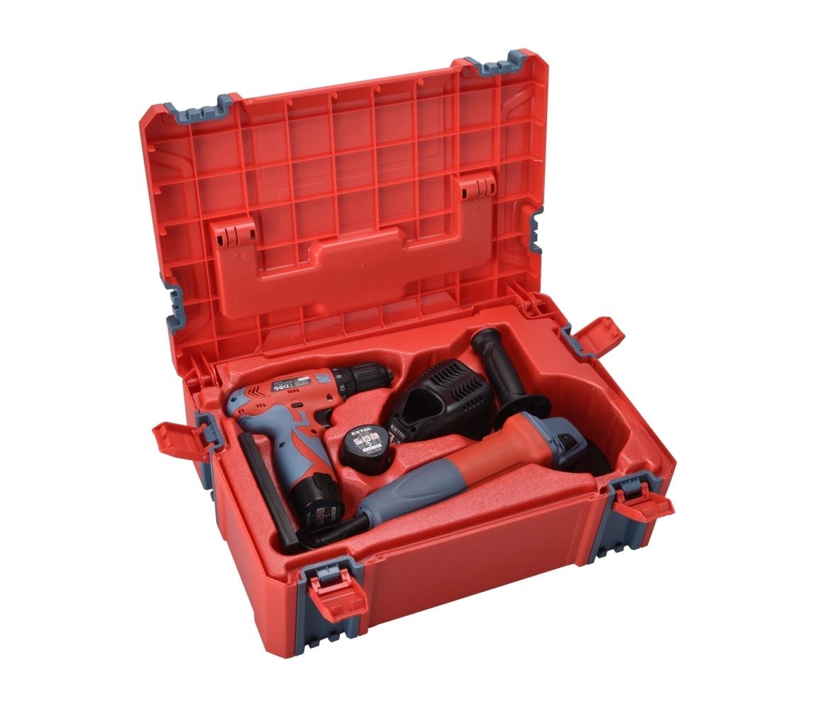 EXTOL PREMIUM Vrtačka aku, 12V Li-ion (2x) a bruska úhlová 125mm v plastovém boxu - Extol Premium 8898311