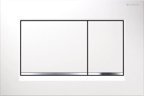 GEBERIT Ovládací tlačítko SIGMA30, pro 2 mn. splach., bílá, pochromovaný lesklý (115.883.KJ.1)