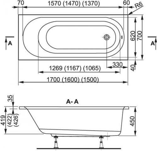 VÁGNERPLAST vana KASANDRA 170×70 (VPBA177KAS2X-01/NO)