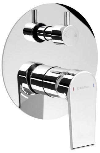 Sapho KAI podomítková sprchová baterie, 2 výstupy, otočný přepínač, chrom