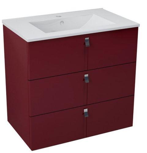 Sapho MITRA umyvadlová skříňka, 3 zásuvky, 74,5x70x45,2 cm, bordó