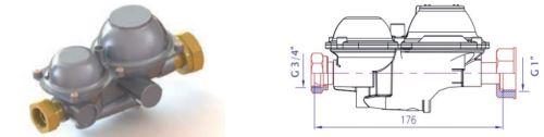 HUTIRA regulátor  plynu B6 NG - L přímý 44010102