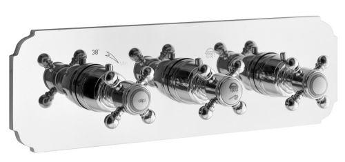 Sapho SASSARI podomítková sprchová termostatická baterie, 3 výstupy, chrom