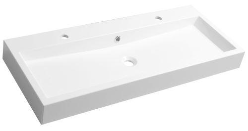 Sapho ORINOKO umyvadlo 100x42cm, 2 otvory pro baterii, litý mramor, bílá
