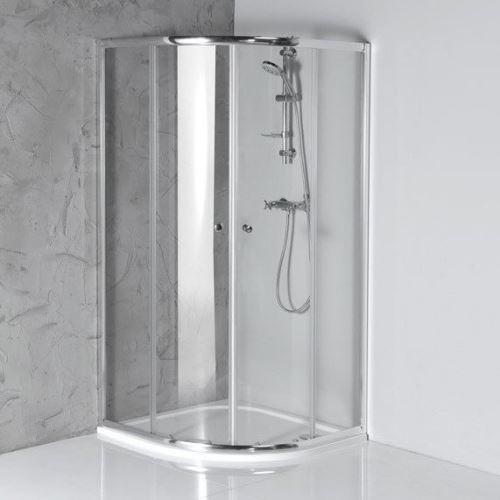 Aqualine ARLETA čtvrtkruhová sprchová zástěna 900x900mm, čiré sklo