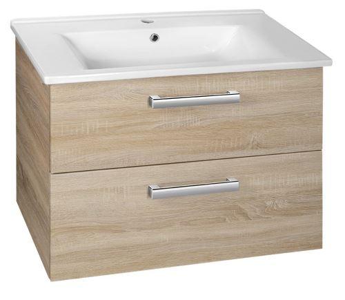 Aqualine VEGA umyvadlová skříňka 72x57,6x43,8 cm, 2xzásuvka, dub platin