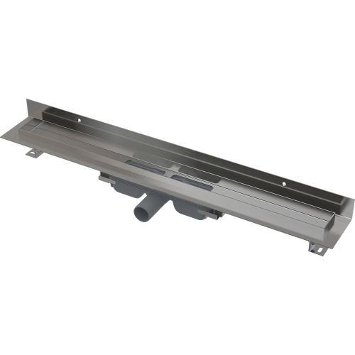 ALCAPLAST APZ116-750 WALL LOW Podlahový žlab s okrajem pro plný rošt a s pevným límcem ke stěně
