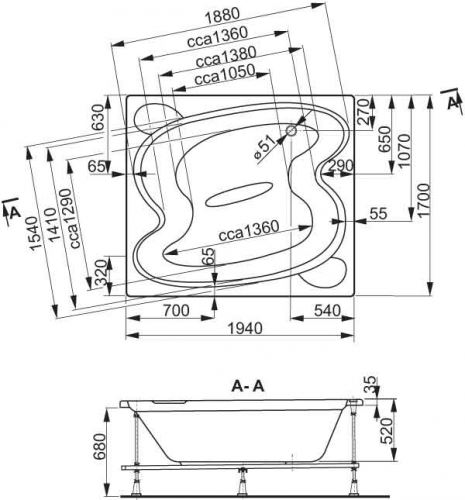 VÁGNERPLAST vana HELIOS 194×170 (VPBA197HEL2X-01/NO)