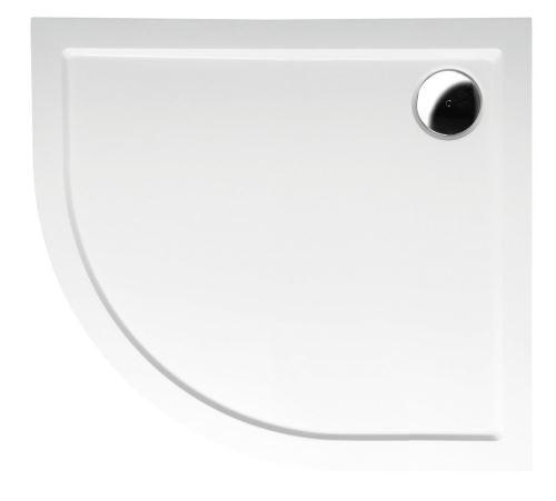 Polysan RENA R sprchová vanička z litého mramoru, čtvrtkruh 90x80x4cm, R550, pravá, bílá