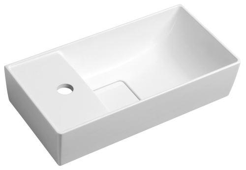 Sapho MAXX umývátko se záklopem 47,5x11x24cm, litý mramor, levé, bílá