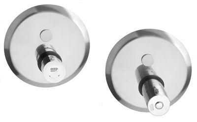 AZP BRNO Automatická nerezová sprchová baterie s termostatickým ventilem ovládaná piezotlačítkem, 12 V, 50 Hz (AUS 12.TV)