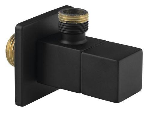 Sapho Rohový ventil s rozetou, hranatý, 1/2'x 3/8' , černá mat
