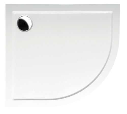 Polysan RENA L sprchová vanička z litého mramoru, čtvrtkruh 90x80x4cm, R550, levá, bílá