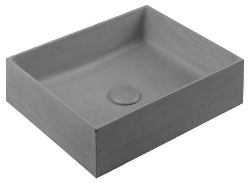 Sapho FORMIGO betonové umyvadlo, 47,5x13x36,5 cm, šedá
