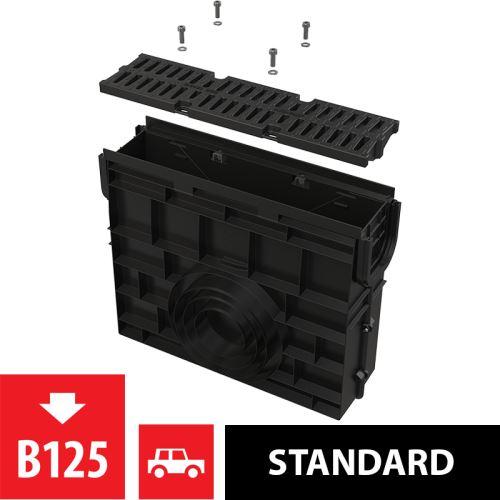 ALCAPLAST Venkovní žlabová vpust pro AVZ104 s plastovým rámem a kompozitním roštem B125 (AVZ104R-R402)
