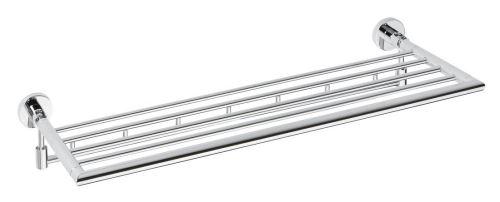 Sapho X-ROUND polička na ručníky výklopná s háčky 650mm, chrom