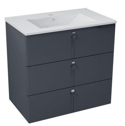 Sapho MITRA umyvadlová skříňka, 3 zásuvky, 74,5x70x45,2 cm, antracit