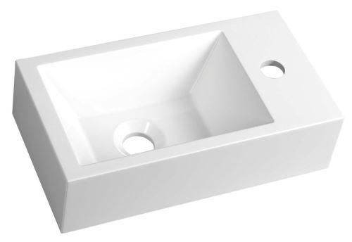 Sapho AMAROK umyvadlo 40x11x22cm, litý mramor, bílá, baterie vpravo