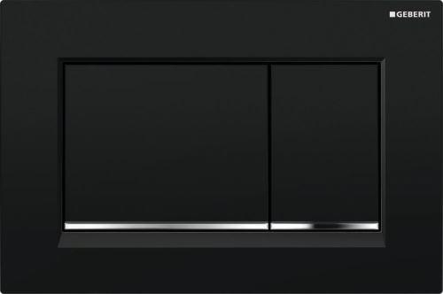 GEBERIT Ovládací tlačítko SIGMA30, pro 2 mn. splach., černá, pochromovaný lesklý (115.883.KM.1)
