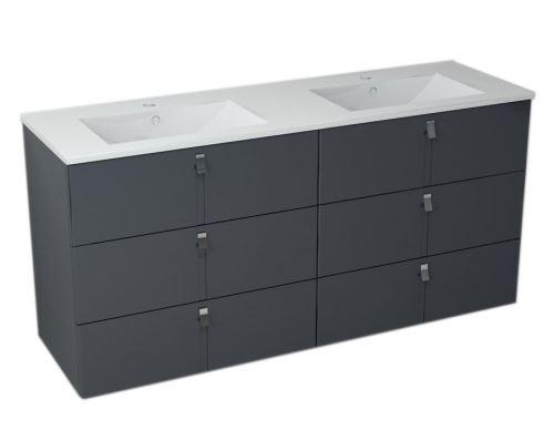 Sapho MITRA umyvadlová skříňka s umyvadlem, 3 zásuvky, 150x70x46 cm, antracit