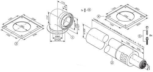 JUNKERS odtah AZB 918 - vodorovný odtah ? 80/125 mm 0,5-0,7 m - 7719002848