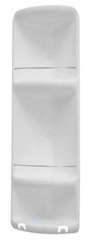 Gedy CAESAR třípatrová rohová polička do sprchy 226x710x160 mm, ABS plast, bílá