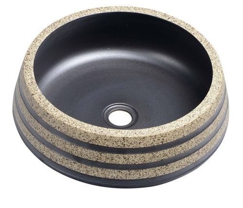 Sapho PRIORI keramické umyvadlo, průměr 41cm, 15cm, černá/kámen