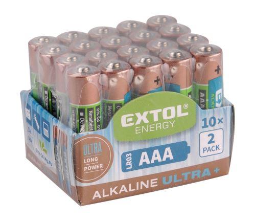 EXTOL ENERGY Baterie alkalické, 20ks, 1,5V AA (LR6) (42013)