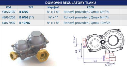HUTIRA Regulátor plynu B6 NG - rohový 44010100