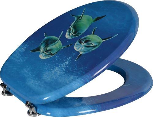 Aqualine FUNNY WC sedátko s potiskem delfíni, MDF