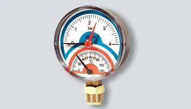 termomanometr-radiální, 0-120°C, 0-6 BAR