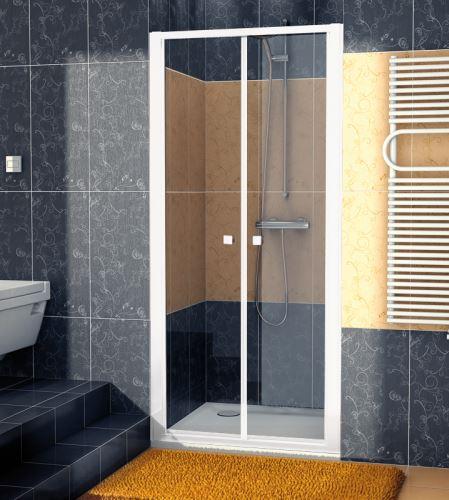 SANSWISS Dvoukřídlé dveře ECO-LINE ECP2  80 cm, bílá/sklo (ECP208000407)