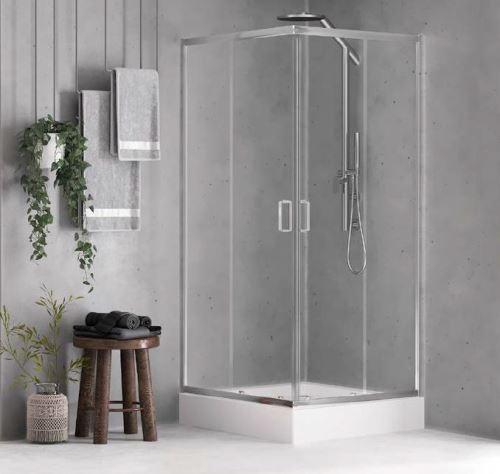 NEW TRENDY Čtvercový sprchový kout FERIA 90x90x185, sklo perla + vanička (ZF0028)