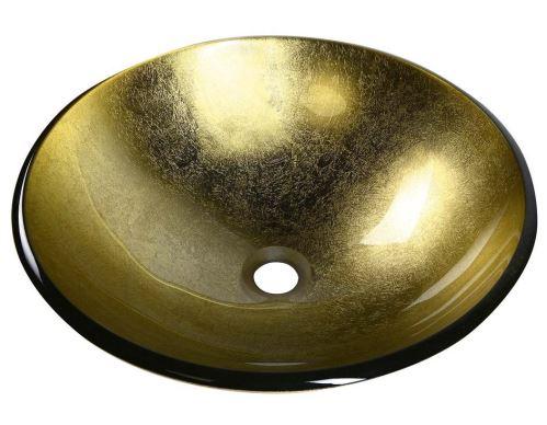 Sapho SHAY skleněné umyvadlo průměr 42 cm, zlatá