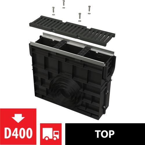 ALCAPLAST Venkovní žlabová vpust pro AVZ103 s kovovým rámem a litinovým roštem D400 (AVZ103R-R201)