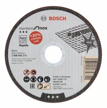 BOSCH Kotouč řezný 125x1mm for Inox - Rapido (2.608.603.171)