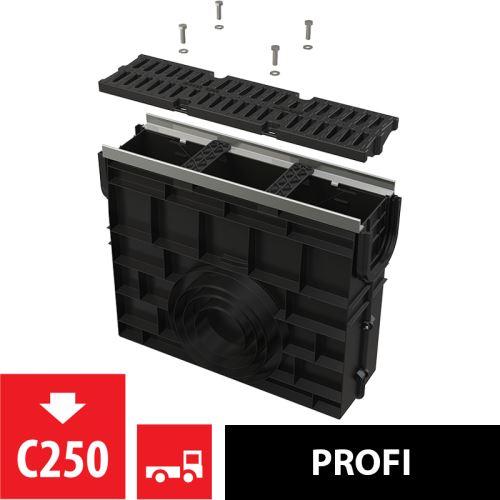 ALCAPLAST Venkovní žlabová vpust pro AVZ103 s kovovým rámem a kompozitním roštem C250 (AVZ103R-R403)