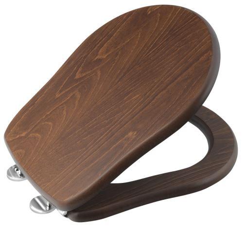 Kerasan RETRO WC sedátko, dřevo masiv, ořech/chrom